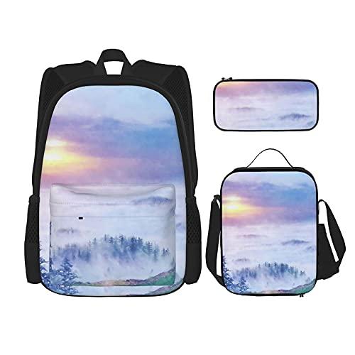 Perfume of Adventure - Mochila escolar de 3 piezas, bolsa escolar + estuche para lápices + bolsa de almuerzo con impresión 3D, lona para viajes y acampada