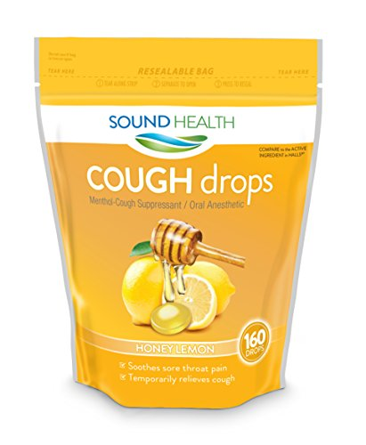 SoundHealth Cough Drops, Cough Suppressant Throat Lozenge, Honey Lemon Flavor, 160 Count Bag