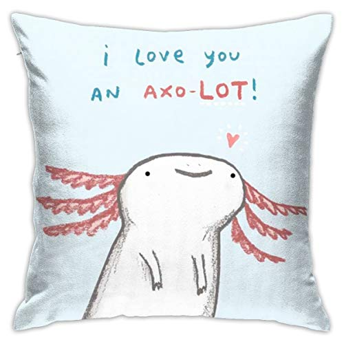 ANYA TOPSHOP Perfect Decorative Pillowcases, Fall Home Decor Cushion Cover, Lotl Love I Love You an Axolotl White Animal Pattern Cozy Pillow Cover Bedbug Proof for Children Room Chair 18x18 Inch
