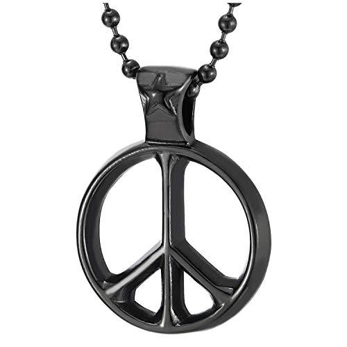 COOLSTEELANDBEYOND Negro Símbolo contra la Guerra Colgante de Collar con Estrella Pentagrama, Hombre Mujer, Acero, Bola Cadena 60CM