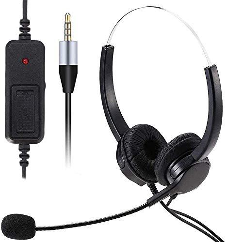 Auriculares de teléfono móvil con micrófono Cancelación de ruido y controles de llamada, auriculares de PC de 3,5 mm para i-Phone Computer Business Skype
