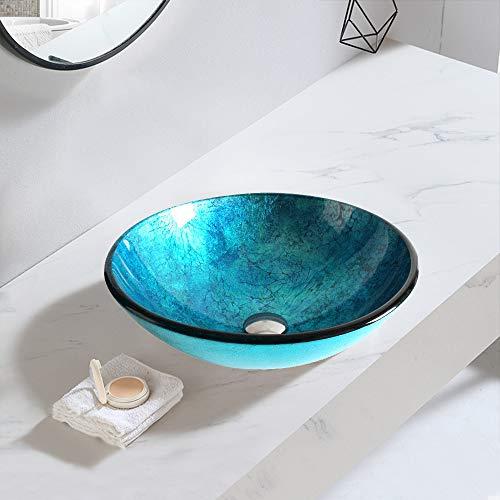 chicstyleme Lavabo de baño redondo de vidrio templado para encimera, fregaderos de un cuenco, 29,7 cm, color azul