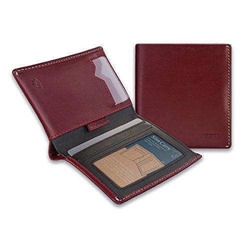 IKEPOD Slim Carry Herren Portemonnaie (8 Farben) italienisches Leder RFID-Fronttasche mit Ausweisfenster, rot (Rot) - IKE0238_4