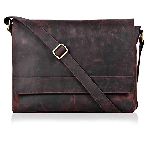 Laptop Bag for Men and Women - Brown Real Leather Messenger Bag for 14'...