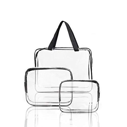 3 Pcs Transparente Bolsa de Viaje Impermeable, Neceser PVC Mujer Bolsa de Cosmético Artículos de Tocador con Cremallera para Vuelo, Regalos, Joyas, Cosméticos y Champú y etc
