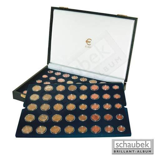 Schaubek Numismatik Münzkollektion Münzkassette Euro-Kursmünzen f. 15 Kursmünzensätze 19121
