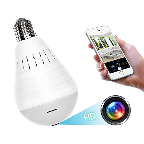 Light Bulb Camera Wireless 360 Degree Panoramic IP Camera Full HD 1080P Wireless WiFi IP Camera, Home Surveillance CCTV Cameras with Motion Detection Alarm/Night Vision/Remote Viewing