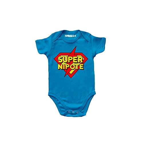 Body Neonato Manica Corta Divertenti – Super Nipote - Body Bambino Unisex 100% Cotone Morbido e Traspirante - Abbigliamento Prima Infanzia Bimbo - 0 Mesi