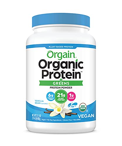 Orgain Organic Protein & Greens Plant Based Protein Powder, Vanilla Bean, Vegan, Gluten Free, Non-GMO, 1.94 Pound, 1 Count, Packaging May Vary