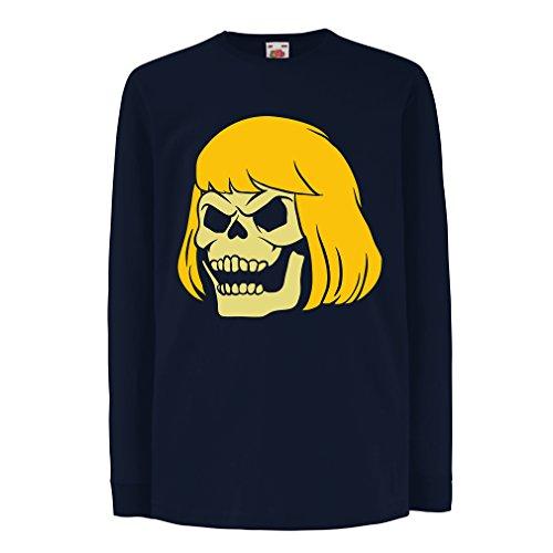 N4411D La Camiseta de los niños con Mangas largas Blonde Skull (9-11 Years Azul Multicolor)