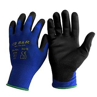 scheda s&r 12 paia guanti da lavoro 100% fibra di nylon con rivestimento in poliuretano. misura m/8
