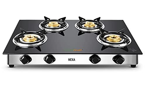 GREENCHEF Stainless Steel Nexa 4 Burner Glass Top Gas Stove, Black, Manual