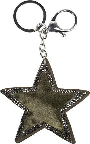 styleBREAKER Damen Stern Schlüsselanhänger mit Strass, Samt Optik, Karabiner, Befestigungsring 05050070, Farbe:Oliv