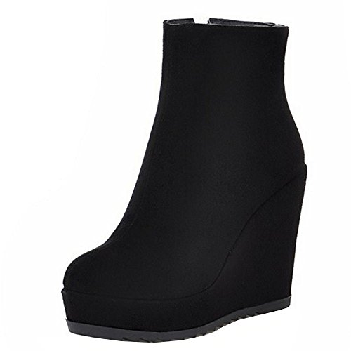 RAZAMAZA Mujer Tacon De Cuna Botines Botas Plataforma Cremallera Zapatos (38 EU,Black)