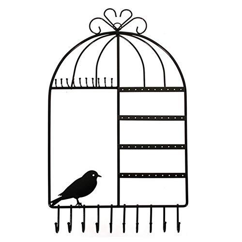 Dequate Soporte De Metal para Joyas - Colgador para Collares Y Pendientes De Diseño De Jaula De Pájaros, Soporte De Joyería Organizador De Joyas para Pared para Aretes, Pendientes, serviceable