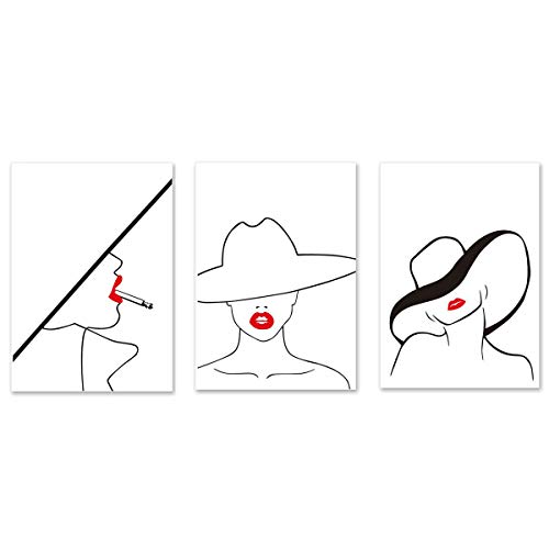 VIAYA 3 Pcs Fashion Hat Sexy Red Lips Beauty Canvas Wall Art Print Minimalist Line Poster Modern Art Decor Painting for Home Decorations(Unframed,12x16 inches)