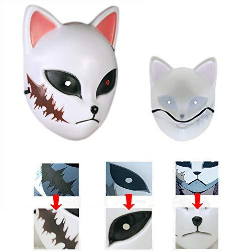 shengo Kimetsu no Yaiba - Demon Slayer Maske Kamado Tanjirou/Sabito/ Makomo Anime Cosplay Zubehör Prop Persönlichkeit Maske für Erwachsene Halloween Karneval Kostüm Maskerade Party (03)