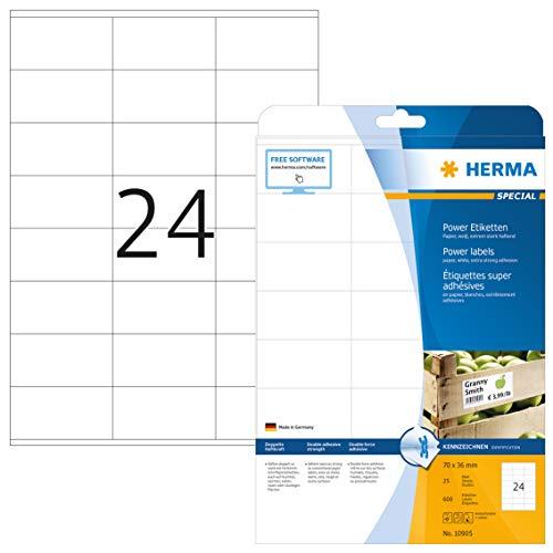 HERMA 10905 Power Etiketten DIN A4 klein (70 x 36 mm, 25 Blatt, Papier, matt) selbstklebend, bedruckbar, extrem stark haftende Universal Etiketten, 600 Klebeetiketten, weiß