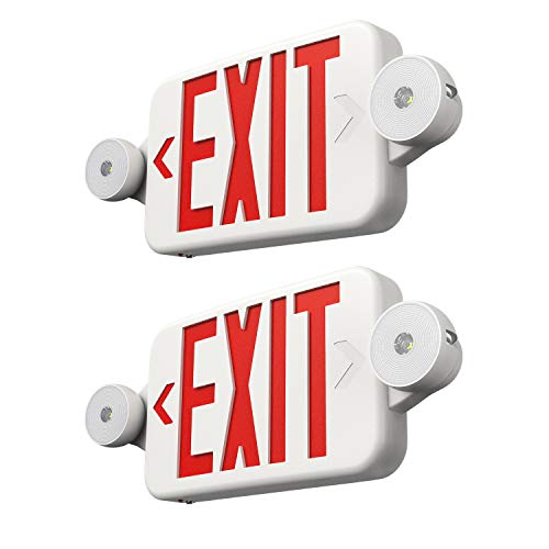 Freelicht 2 Pack Exit Sign with Emergency Lights, Two LED Adjustable Head Emergency Exit Light, Exit Sign for Business
