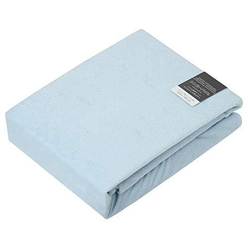 東京 西川 ボックスシーツ シングル タオル調 厚さ35cmまでに対応 日本製 綿100% ボーテ ブルー PTG5550017B