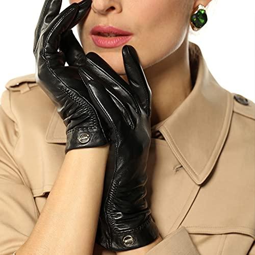 Kioiien Guantes de piel de piel de oveja negros para las mujeres invierno abriguenos de motocicleta a prueba de viento Guantes de conducción de mensajes de texto Tiping táctil manopla para conducir ci