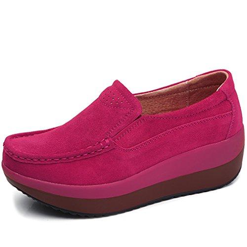 Solshine Damen Wildleder Plateau Loafers Walkmaxx Keilabsatz Mokassins Slipper Pink 40EU