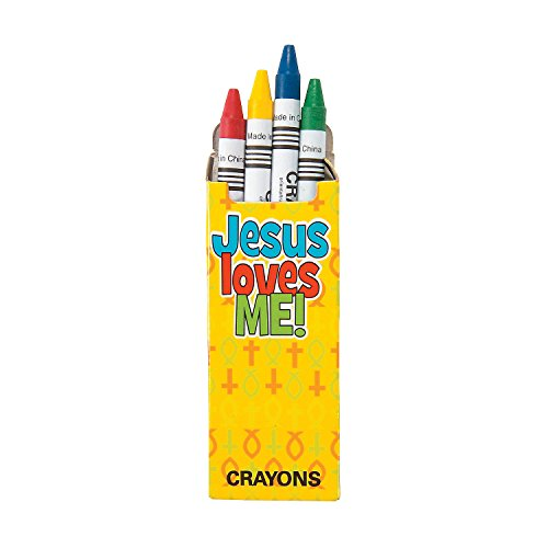 Jesus Loves Me Religious Crayons - 24 packs with 4 crayons each - Church, Sunday School, and Giveaways