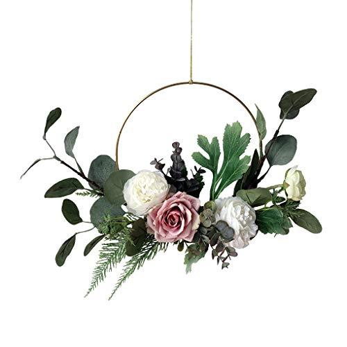 rongweiwang Artificial de la Guirnalda de la Flor de Rose Corona de Flores de Tela Falso Collar de Flores Hoop Ornamento Colgante Floral de la Boda de Inicio, púrpura