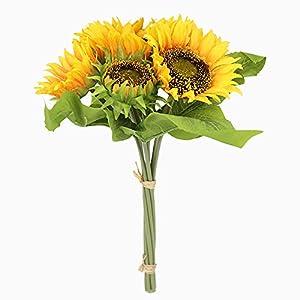 XDgrace Artificial Sunflowers Arrangement Bouquet, Large Fake Summer Silk Sunflower Artificial, 7 Flowers Per Bunch for Home and Wedding Decoration