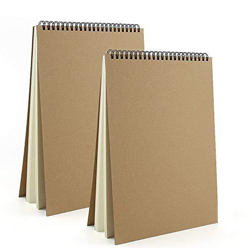 VEESUN Sketchbook A4 Spiralati 2pcs, Album da Disegno Quaderno Schizzi Pagine Bianche Spesso 30 Fogli 160GSM, Copertina Rigida Fogli da Disegno Diario, Blocco da Disegno per Matita Penna Acquerello