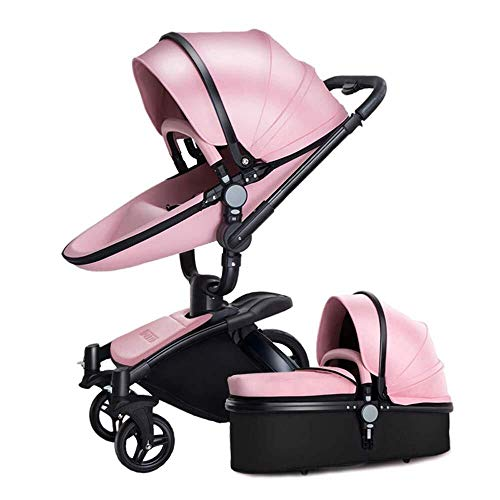 Discover Bargain TZZ Luxury Baby Stroller High Landscape Foldable Pram Carriage with 5-Point Harness...