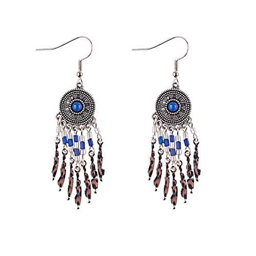 Orecchini a nappa lunga con perline fatti a mano della Boemia per gioielli da donna Orecchini con perline multicolori Orecchini etnici blu