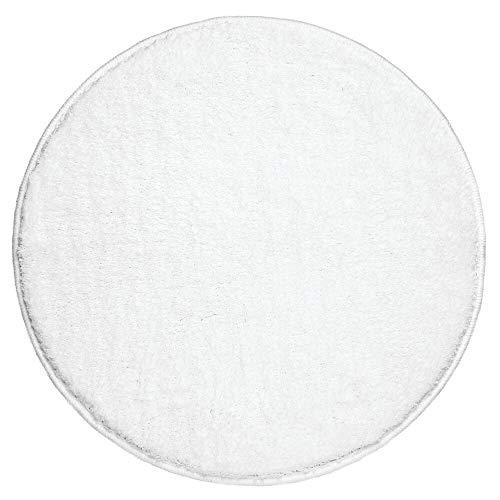mDesign Soft Microfiber Polyester Non-Slip Round Spa Mat/Runner, Plush Water Absorbent Accent Rug for Bathroom Vanity, Bathtub/Shower, Machine Washable - 24' Diameter - Heather White
