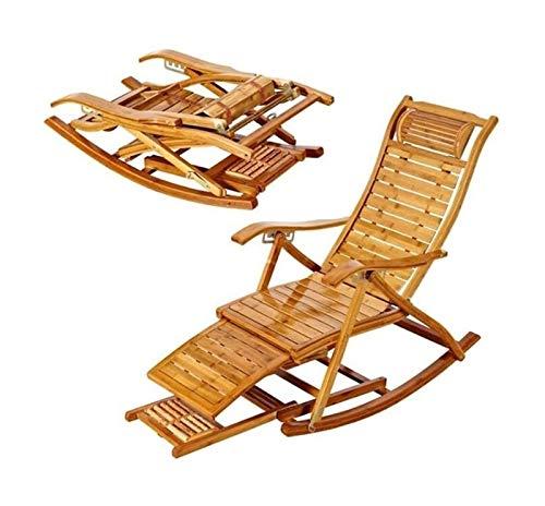 Mobili da giardino per sedia a dondolo per patio e Sedie Portico Mobilio, Sedia a dondolo Poltrona piattaforma di legno di bambù sedia a sdraio Sedia pieghevole Estate Rilassante reclinabile Bamboo In