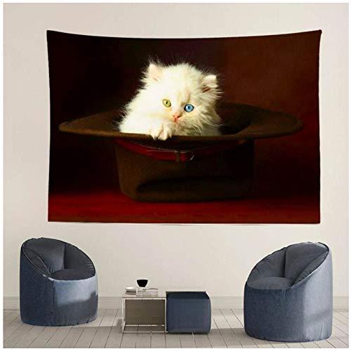 KBIASD Precioso Tapiz de Gato Blanco para decoración del hogar, Mantel para Colgar en la Pared, Estera de Picnic, Almohadilla para Dormir al Aire Libre, Fondo fotográfico 150x130cm