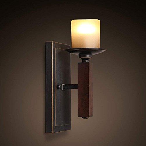 DSJ wandlampen Europese stijl retro nacht hal gang toilet glas enkele kop creatieve ijzeren kaars tafellamp