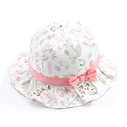 iisport Sonnenhut Baby Mädchen, Kleinkind Fisherhut Mädchen Sommermütze mit Kinnriemen, UV-Schutz, Vögel-Rosa, 50cm / L