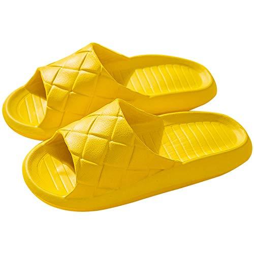 XZDNYDHGX Zapatillas De Playa Y Piscina,Diapositivas de celosía para Mujer Zapatillas de casa Unisex Chanclas Antideslizantes,Zapatos de baño Ligeros Amarillo EU 36-37