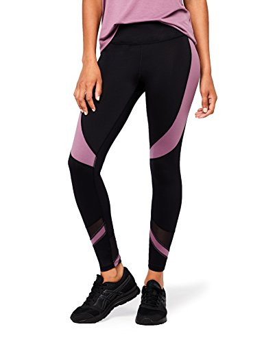 Amazon Marke - AURIQUE Damen-Sportleggings, Schwarz (Black/Purple Gumdrop), 40, Label:L