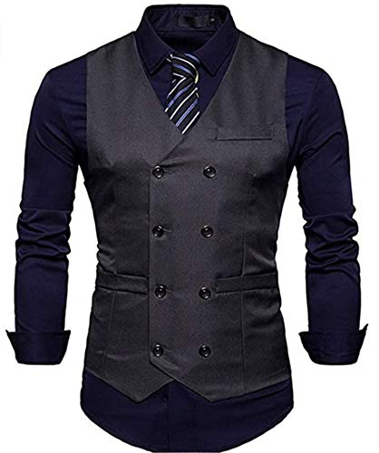 BAIZAN Hombres Slim Fit Men Traje Chaleco, Doble Breasted Gentleman Vestido Casual Hombres Slim Fit Hombres Traje Chaleco,5,XXL