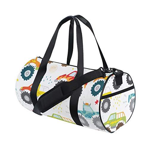 PONIKUCY Sporttasche Reisetasche,Handgezeichnete Kinder Doodle Monster Truck,Schultergurt Handgepäck für Übernachtung Reisen
