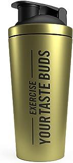 THE PROTEIN WORKS Black 'n' Gold Shaker | Steel Leak Proof Bottle | Dishwasher Safe | 700 ml