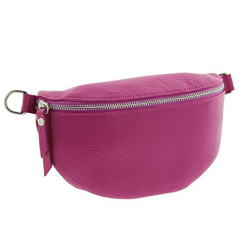 IO.IO.MIO echt Leder Bauchtasche Damen Hüfttasche Gürteltasche Crossbody Bag Frauen Ledertasche pink