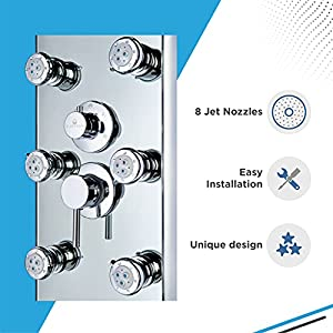 """Blue Ocean 52"""" Aluminum SPA392M Shower Panel Tower with Rainfall Shower Head, 8 Multi-functional Nozzles"""