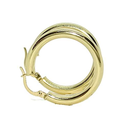 Pendientes aros de oro amarillo de 18K de 3mm de ancho por 2.50cm de diámetro exterior. Peso; 2.25gr de oro de 18k