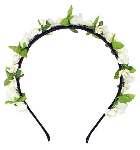 Trachtenland Blumen Haarreif Liliana mit Rosen - Creme Weiß