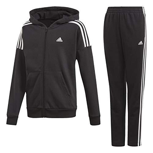 adidas JB Cotton TS Chándal, Niños, Top:Black/White Bottom:Black/White, 4-5Y
