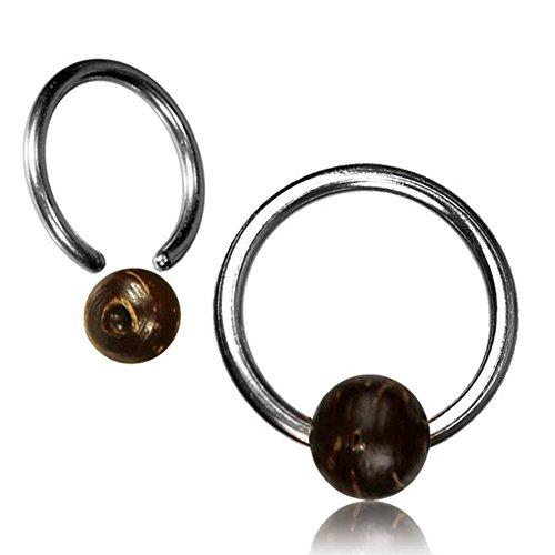 Chic-Net Kokosholz Universal Piercing Klemmkugel Ring silbern Septum Helix Tragus