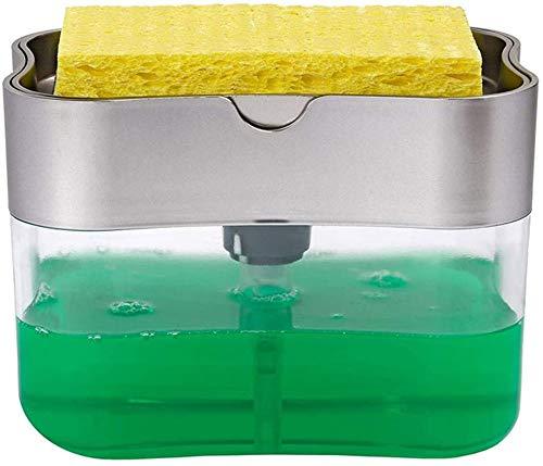 QAZ Dispensador de la Bomba de jabón y el Soporte de Esponja 13 onzas de Plata dispensador de jabón 2-1Sponge dispensador de jabón y conservación Esponja Carro 13 oz (Multicolor),Color