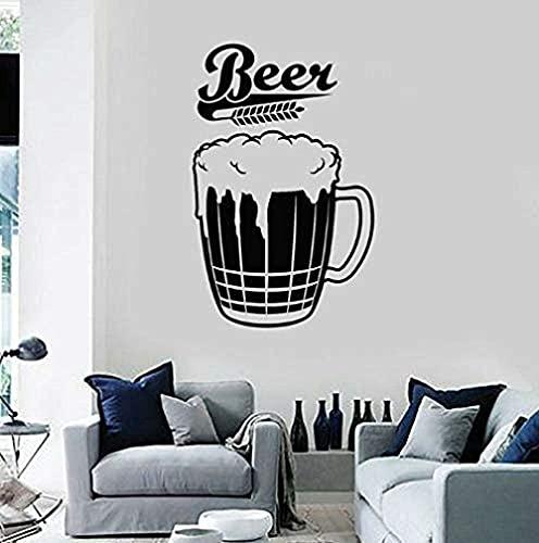 TJVXN Calcomanía de Vinilo para Pared Vidrio Cerveza Espuma Bar Pub Cerveza decoración Interior del hogar Arte Ventana Vidrio Pegatina Trigo Mural 42X65 cm